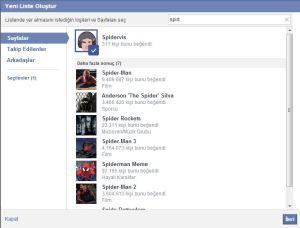 facebook ilgi alanı listesi